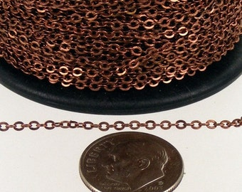 100 ft Antique Copper Chain - 2.4x1.7mm SOLDER Chain - Copper little Oval Flat Soldered Cable Chain - Bulk Wholesale Chain - from USA