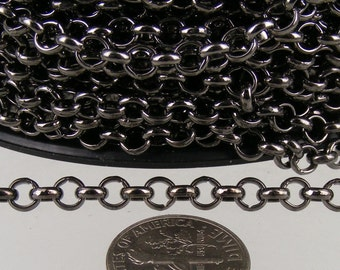 Gunmetal Rolo Chain bulk, 12 ft of Rolo Cable Chain 4.7mm - Unsoldered Links - Necklace Bracelet Wholesale Bulk Jewerly Chain