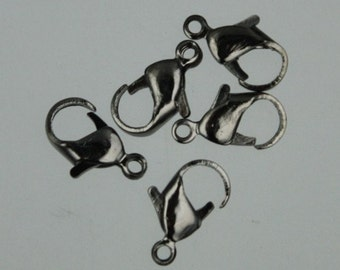 100 pcs of Gunmetal over iron lobster claw clasp 12mm