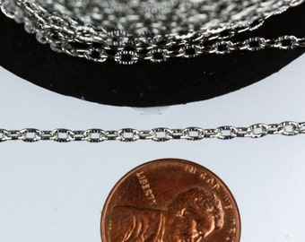Rhodium Texture Chain Bulk, 12 ft. of Antique Silver Flat Texture Oval Chunky Cable Chain - 3x2mm Unsoldered - Necklace Bracelet Chain