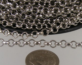 Rhodium Plated Rolo Chain bulk, 12 ft of Antique Silver Rolo Cable Chain 4.7mm - Unsoldered Links - Necklace Bracelet Wholesale Bulk Jewelry