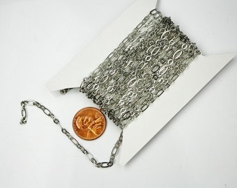 10 feet Rhodium Chain of ( 3 and 1 ) Antique Silver Long and Short Chain Flat Cable Chain Necklace bulk chain 6.3 N 4mm - SOLDERED Chain