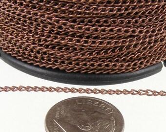 Antique Copper Chain bulk Chain, 32ft. spool of Antique Copper little curb chain - 1.5mm Unsoldered link