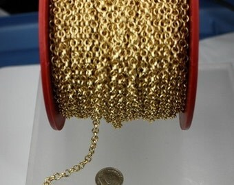 Gold Plated Rolo Chain bulk, 12 ft spool of ROLO cable chain - 4.7mm Unsoldered Links - Necklace Bracelet Wholesale Bulk Jewerly Chain