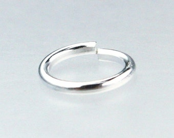 100 pcs Sterling Silver Plated Jumpring Jump Ring 8mm 16gauge 16G 1.2mm - open link - Ship from California USA