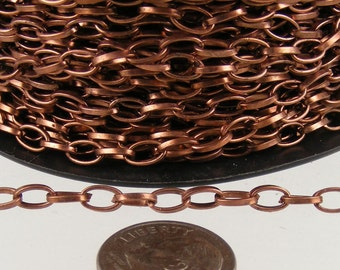 NEW Low Price 12 ft. of Antique Copper Finished Drawn Cable Chain - 6.3x3.5mm Unsoldered Link