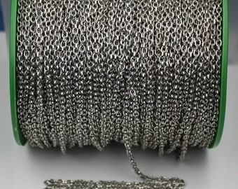 Rhodium Plated Drawn Chain Bulk, 12 ft spool of Antique Silver DRAWN cable chain 4X3mm - unsoldered link,Bulk Necklace Chain