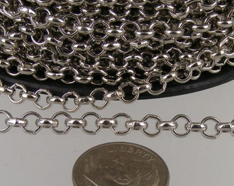 Rhodium Plated Rolo Chain bulk, 32 ft of Antique Silver Rolo Cable Chain 4.7mm - Unsoldered Links - Necklace Bracelet Wholesale Bulk Jewelry