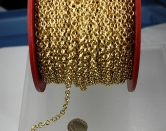 Gold Plated Rolo Chain bulk, 32 ft spool of ROLO cable chain - 4.7mm Unsoldered Links - Necklace Bracelet Wholesale Bulk Jewerly Chain