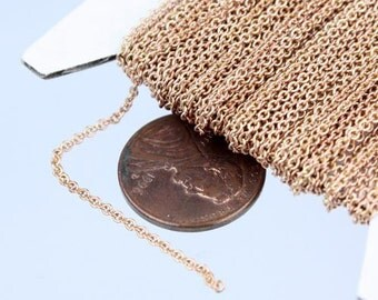 raw COPPER Chain Bulk Chain, 32 ft Tiny Round SOLDERed Brass Chain Cable Chain 2.0x1.4mm-  Soldered Necklace Wholesale Chain DIY Chain