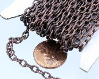 32 feet Antique Copper Chain bulk Chain - 5.7x3.9mm-1.0mm Unsoldered Link - Big Cable Chain
