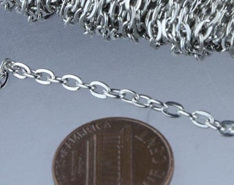 Rhodium Plated Flat Chain Bulk, 32 ft. of Antique Silver Flat Oval Cable Chain - 4x3mm Unsoldered- Necklace Bracelet Wholesale DIY Chain