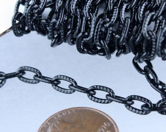 Black Texture Chain Bulk, 10 ft. of Flat Texture Oval Chunky Cable Chain - 7.2x4.2mm Unsoldered - Necklace Bracelet Bulk Jewelry DIY Chain