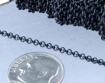 Black Rolo Chain bulk, 12 ft of Rolo Cable Chain 2.0mm - Unsoldered Links - Necklace Bracelet Wholesale Bulk Jewerly Chain