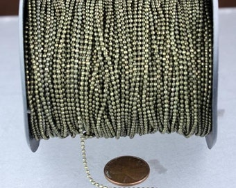 10ft. Antique Brass Finished on Brass FACET Ball Chain - 1.5mm Ball