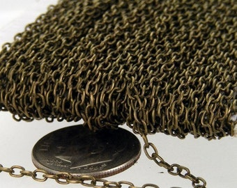 Antique Brass Chain, 100ft spool of Antique Brass Finished Round cable chain - 3.0x2.0mm - unsoldered link,Wholesale Necklace chain