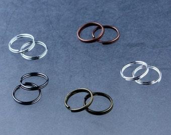 500 pcs of Antique Brass, Antique Copper, Silver, Gunmetal, Rhodium Finished MULTI COLOR Split Rings - 8mm