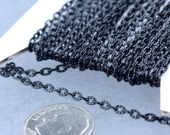 Black Texture Chain Bulk, 32 ft. of Flat Texture Oval Chunky Cable Chain - 3x2mm Unsoldered - Necklace Bracelet Chain