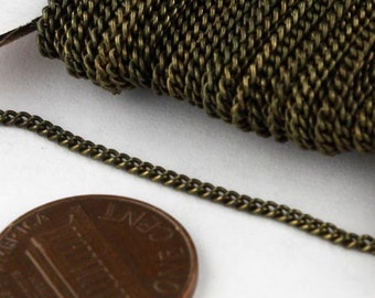 10 ft Antique Brass Bronze Solder Curb Chain VINTAGE Style  - 1.6mm SOLDERED Link