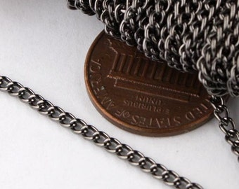 32ft of Gunmetal Curb chain 2.2mm - Unsoldered Links