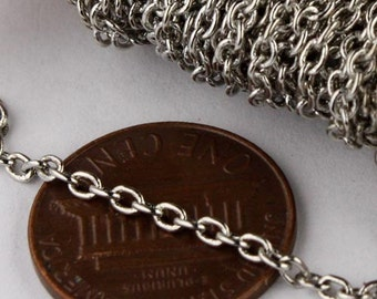 Rhdoium Plated Chain Bulk Chain, 100 ft of Antique Silver Round SOLDERED Chain Cable Chain - 2.6x2.1mm SOLDERED Necklace Wholesale Chain