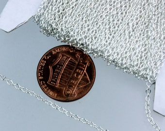 Sterling Silver Plated Chain Bulk Chain, 1000 ft of tiny Chain Cable - 2.0x1.4mm SOLDERED Chain Necklace Wholesale Chain