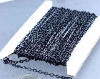 Black Texture Chain Bulk, 50 ft. of Flat Texture Oval Cable Chain - 3x2mm Unsoldered - Necklace Bracelet Chain