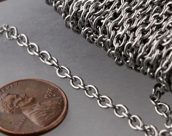 Stainless Steel chain bulk, 100 ft of Surgical Stainless Steel Cable chain - 4.1x3.2mm Unsoldered Link