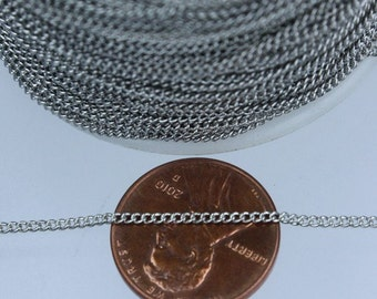 SALE Sale 32 ft spool of Antique Silver Finished over brass tiny curb chain - 1.3mm soldered link