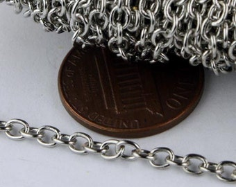 32 ft spool of Antique Silver Finished Round Soldered Cable Chain - 3.4x3.0mm SOLDERED Link