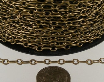 32 ft of Antiqued Brass Finished Long and Short Chain - 6.6x3.3mm - Unsoldered Link