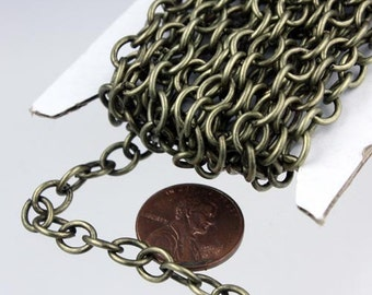 10 ft of Antiqued Brass Big Heavy Cable chain - 7.8x6.3mm 1.2mm unsoldered links