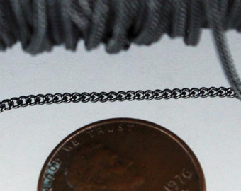 32 ft spool of Gunmetal Finished tiny curb chain - 1.3mm soldered link - Solder Curb Chain - Ship from California USA