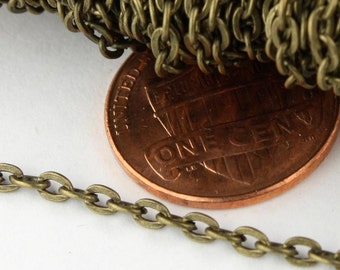 SALE Sale 50ft. of Antique Brass Finished Flat Cable Chains - 3x2.2mm unsoldered