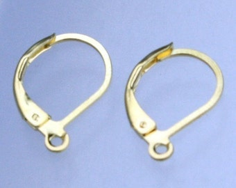 100 Gold Plated Leverback Earrings earwire 10X16mm