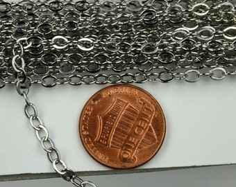 100 ft of Antique Silver finished brass cable Chain - 4X3.5mm SOLDERED link
