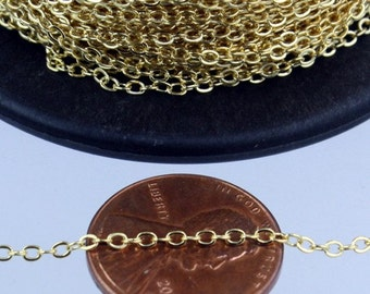 Gold Plated Flat Chain Bulk, 32 feet Flat Cable Chain - 3x1.7mm SOLDERED - Necklace Bracelet DIY Wholesale Bulk Chain