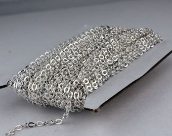 100 ft Sterling Silver Plated Flat Cable Chain - 3.4x2.9mm SOLDERED Link - Bulk Flat Soldered Cable Chain