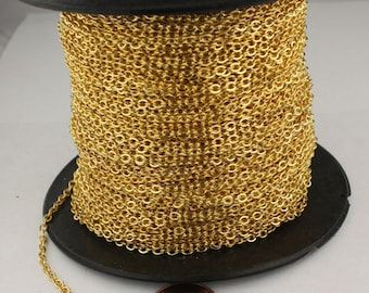 12 ft spool of Gold Finished Flat SOLDERED Cable Chain - 3.4x2.9mm SOLDERED Link