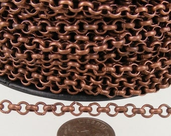 Antique Copper Rolo Chain bulk Chain, 32 ft of Rolo Cable Chain 3.8mm - Unsoldered Links - Necklace Bracelet Wholesale Bulk Jewerly Chain