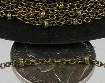 Antique Bronze Chain Bulk Chain, 32 ft spool of tiny Antique Brass Cable BALL Chain - 2.0x1.4mm SOLDERED Necklace Bracelet Sattellite Chain