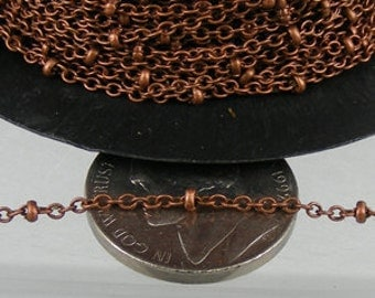 Antique Copper Chain Bulk Chain, 32 ft spool of tiny Cable BALL Chain - 2.0x1.4mm SOLDERED link Necklace Bracelet Wholesale Chain