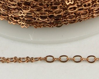 10 ft spool of Raw Copper SOLDERED Tiny  Figure 8 Connector Chain - 3.0x1.9mm links