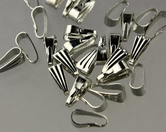 100 pcs of Rhodium plated Pendant Pinch Bail 9x3.5mm