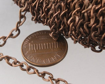 New Sale Price 50 ft of Antique Copper Plated Twist Hammered Fashion Curb Chain - 5.2x3.8mm 22G Unsordered Link - Ship from California USA