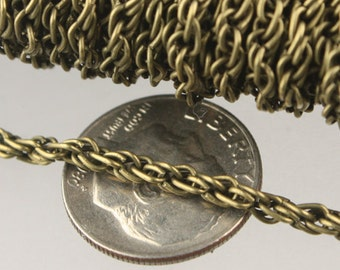 NEW new 32 ft of Antique Brass Finished Fashion Rope Chain - 3.9x3.0mm Link - Chain Thickness 2.7mm
