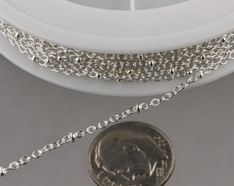 32 feet Sterling Silver Plated Chain of tiny Satellite Chain Cable BALL Chain - 2.0x1.4mm SOLDERED Necklace Satellite Chain bulk chain