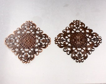 10 pcs of Antiqued Copper filigree drop Dangle 50x50mm