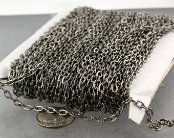 SALE Sale 50 ft of Gunmetal finished Textured Cable Chain - 4X3mm unsoldered link