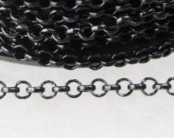 Black Rolo Chain bulk, 12 ft of Rolo Cable Chain 3.2mm - Unsoldered Links - Necklace Bracelet Wholesale Bulk Jewerly Chain